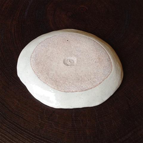 粉引金丸紋楕円皿