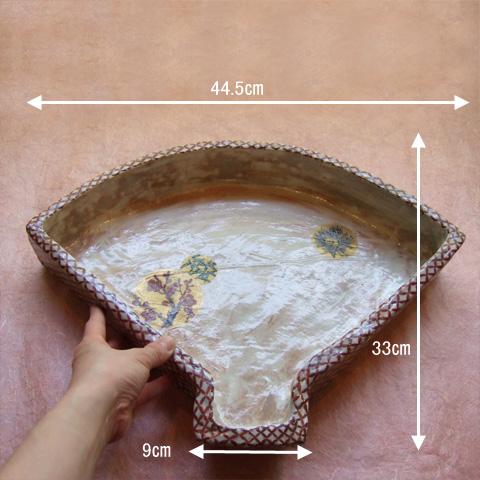 松竹梅扇形皿
