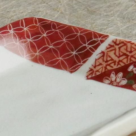 粉引菱形豆皿 赤小紋・小花ちらし・菊花ちらし