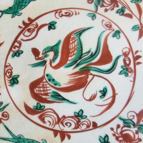 粉引赤絵花鳥紋二段重