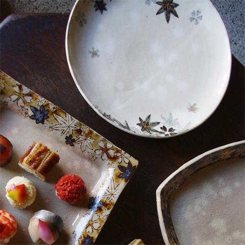 雲錦 丸皿