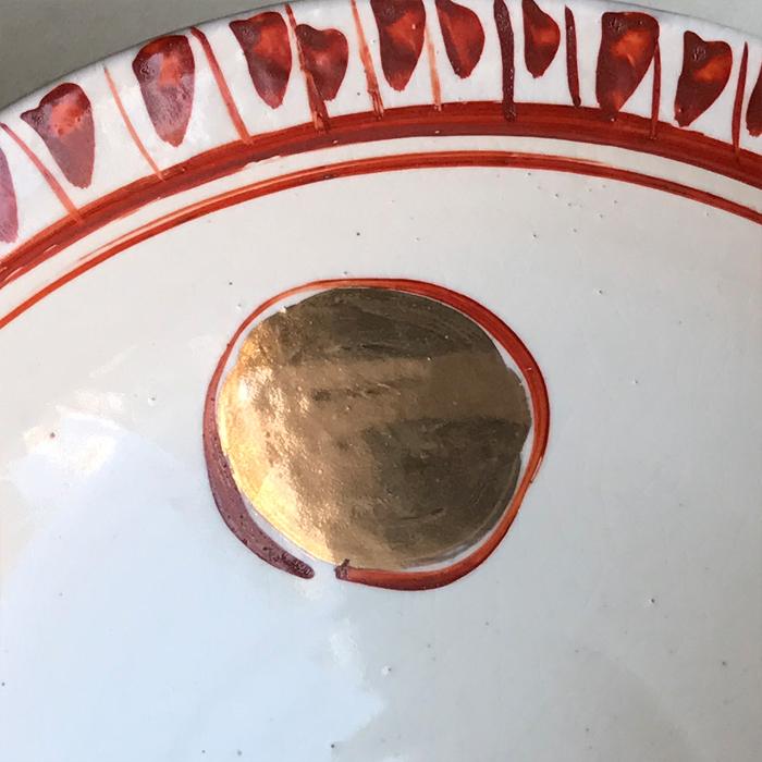 赤絵大鉢 浪間に月