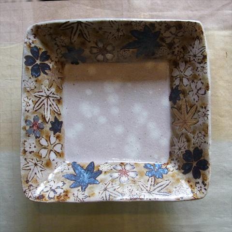 土灰釉雲錦正角鉢