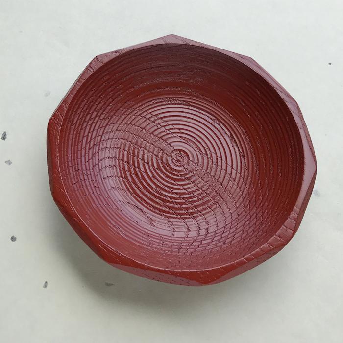 5寸朱栗ハツリ木皿