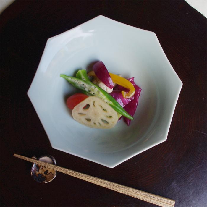 青磁八角鉢(河合正光)